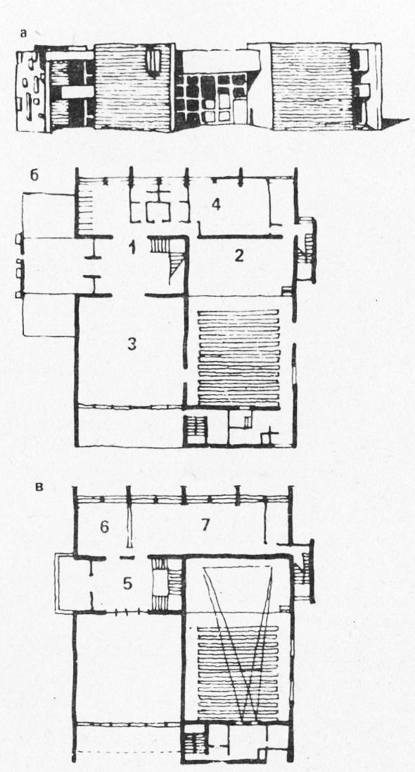 а - фасад; б — план 1-го этажа