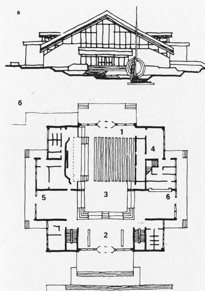 а — фасад; б — план 2-го этажа