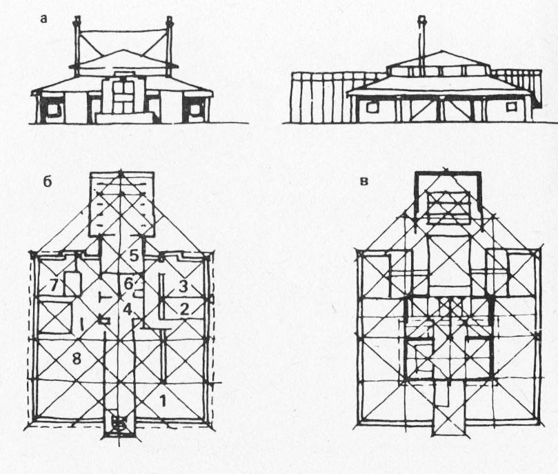 а - фасад; б - план 1-го этажа